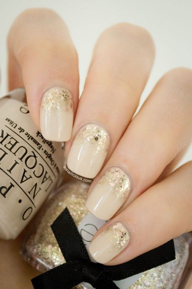 Nail polish ideas gold nail art gold nail and nude - Nail art nude ...