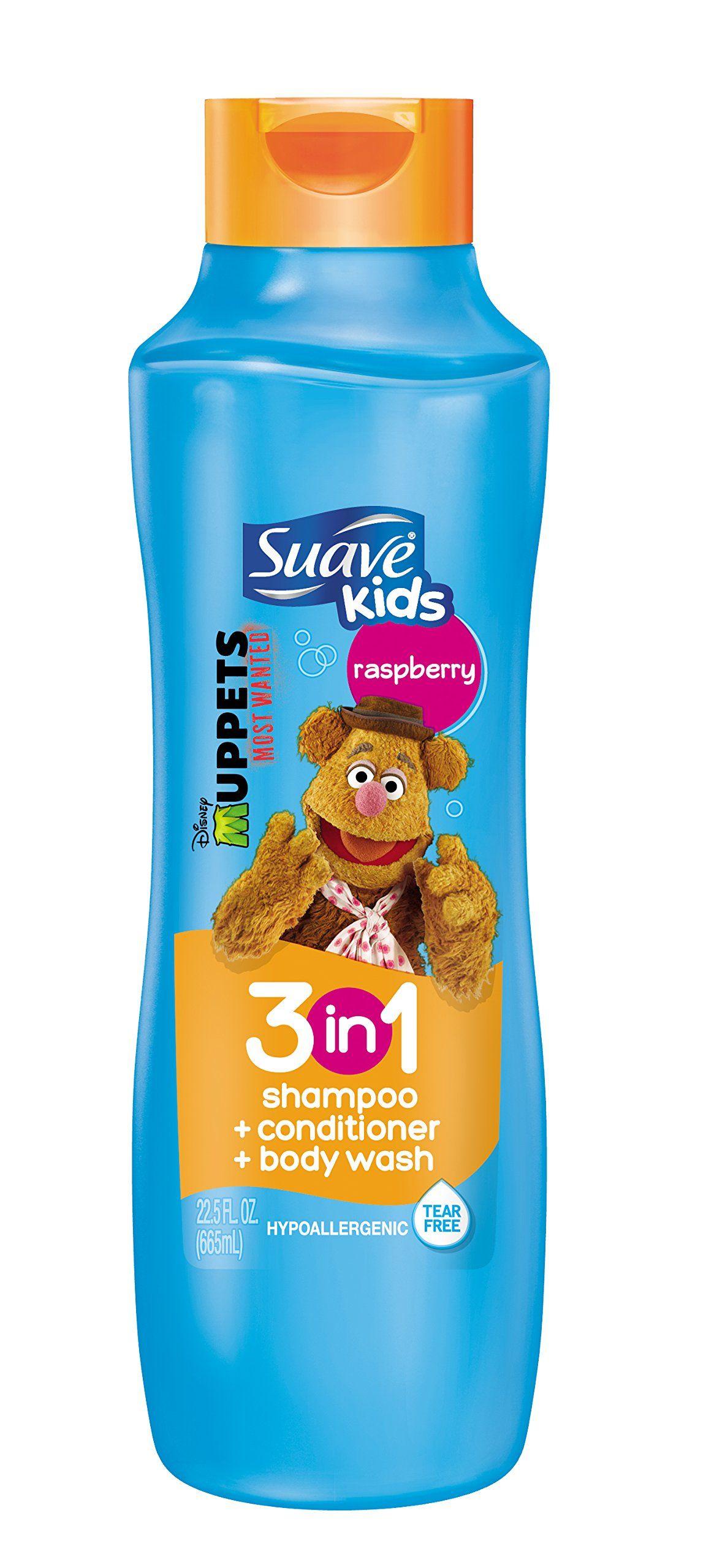 f53e36b24895 Suave Kids 3 in 1 Shampoo + Conditioner + Body Wash, Raspberry 22.5 ...