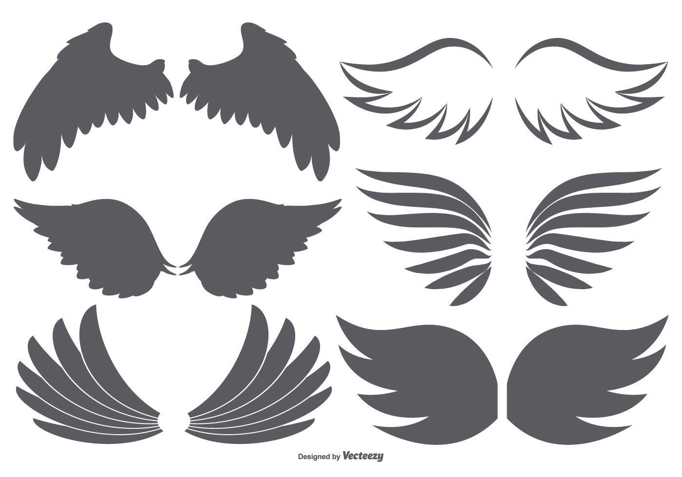 Vector Wings Collection Angel Wing Silhouette Vector Art Design Vector Art