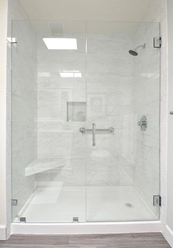 Walk In Shower Marble Tile In 2020 Bathroom Remodel Designs Shower Remodel Diy Bathroom Remodel