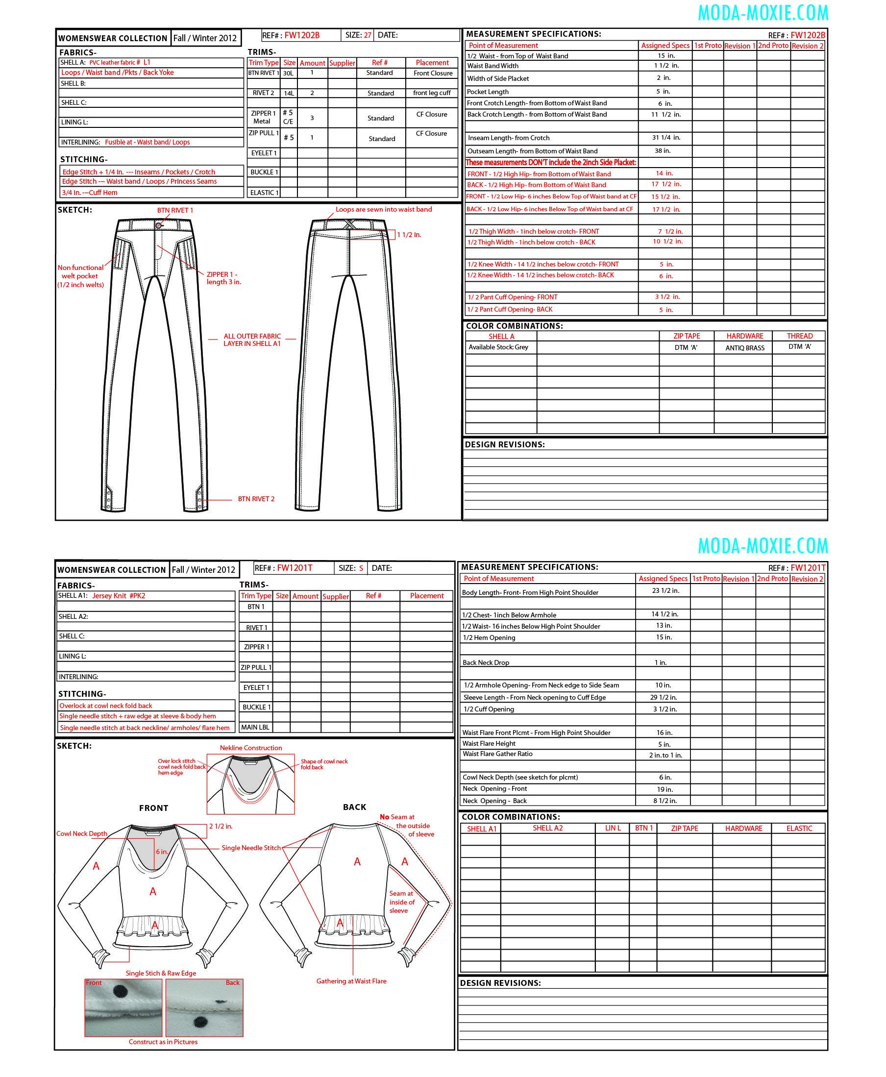 Free Template Tech Pack Fashion Portfolio Tech Pack Athleisure Fashion