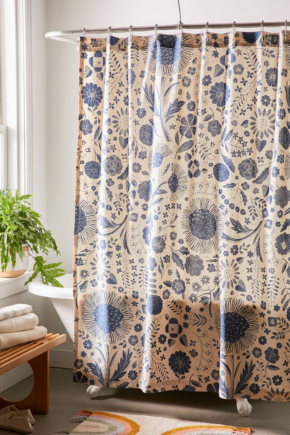 Shelby Woodblock Floral Shower Curtain Floral Shower Curtains