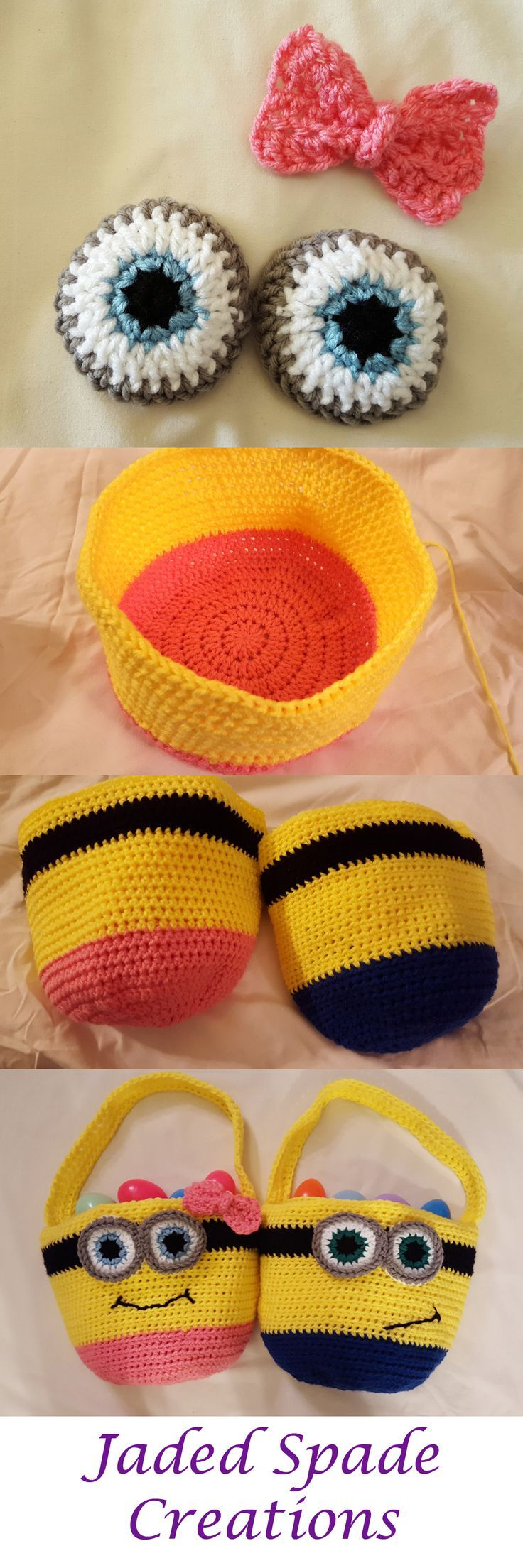 Crochet Pattern Minion Crochet Easter Basket Pattern Boy or Girl Options Now in Two Sizes,  #... #minioncrochetpatterns