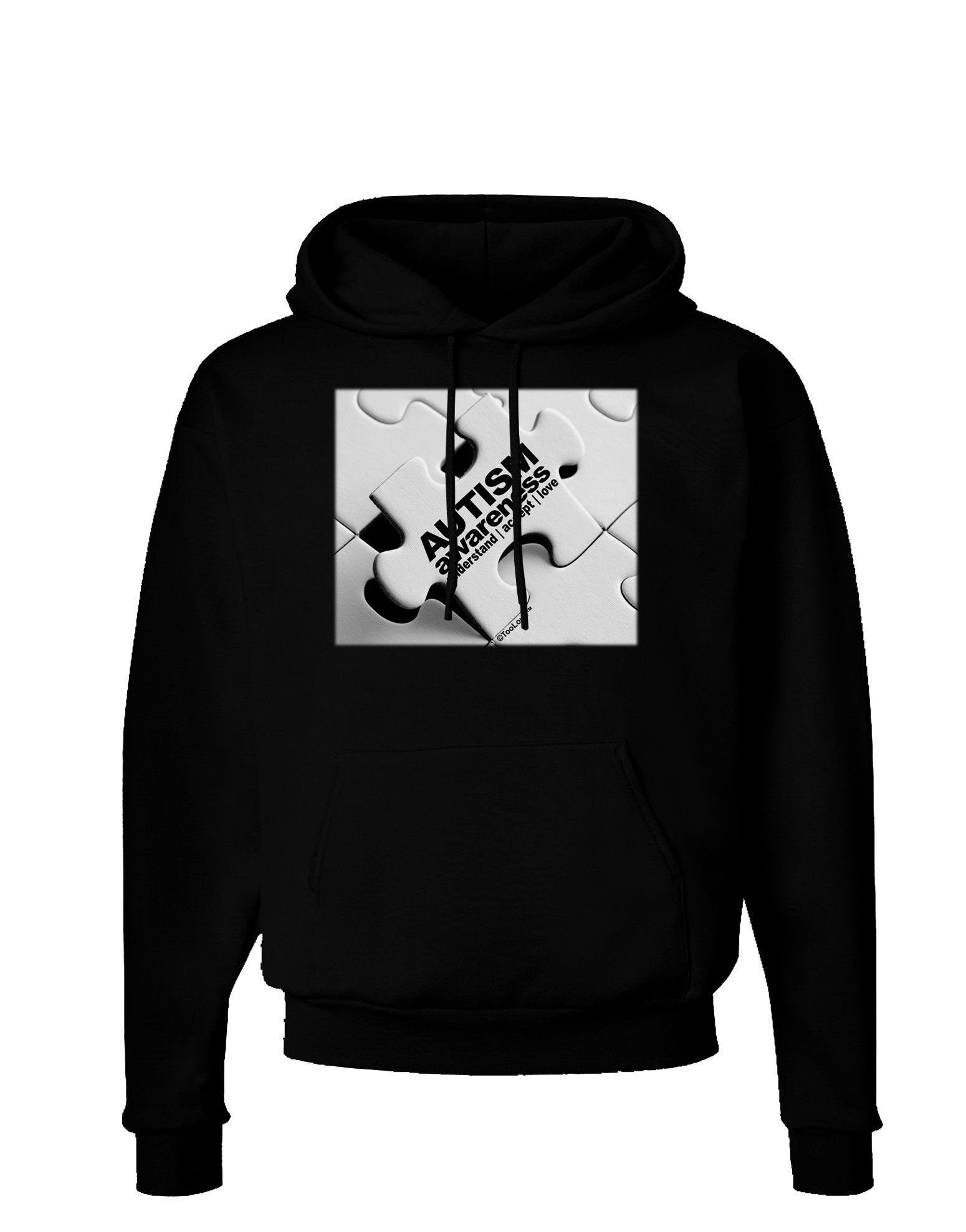 TooLoud Autism Awareness - Puzzle Black & White Dark Hoodie Sweatshirt