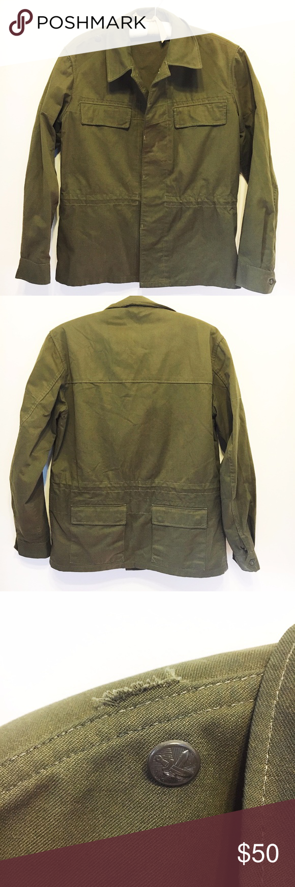 85733e9ed Vintage Zekon Michalovce Slovakian Army Jacket Vintage Zekon Michalovce  green men's Slovakian Army jacket, adjustable
