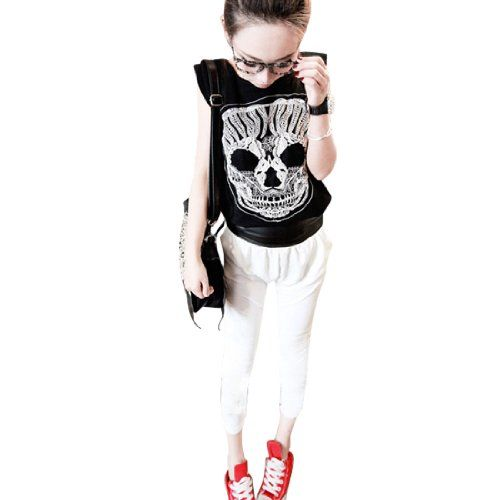 Allegra K Lady Padded Shoulder Scoop Neck Sleeveless Tee Tops Black White XS. From #Allegra K. Price: $14.17