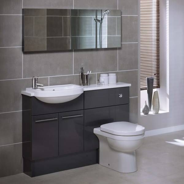 Gray bathroom midnight grey gloss bathroom for Small fitted bathrooms