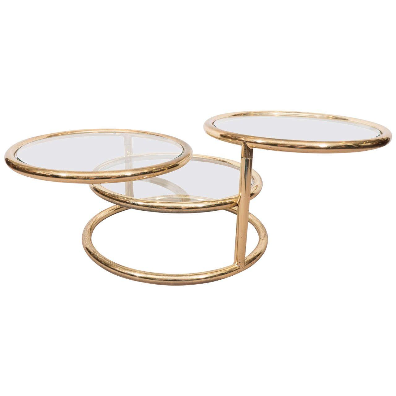 Milo Baughman Style Circular Three Tier Swivel Coffee Table In Polished Brass 1stdibs Com Baughman Polished Brass Coffee Table