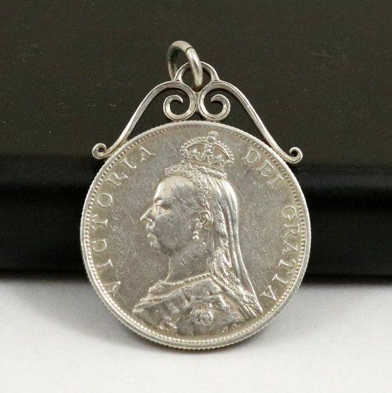 Antique Coin Pendant 1887 Queen Victoria Golden Jubilee