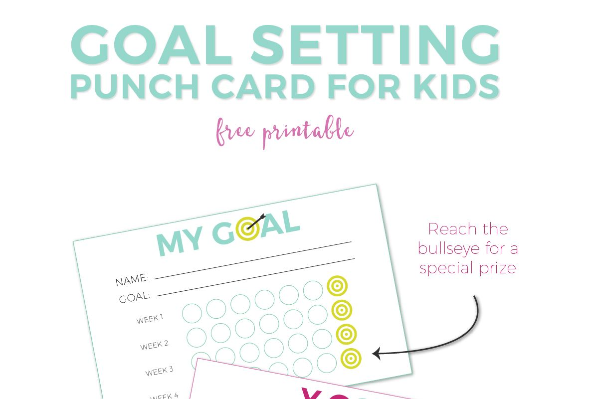 Goal Setting For Kids Free Printable Punch Cards Punch Cards Behavior Punch Cards Printable Activities For Kids