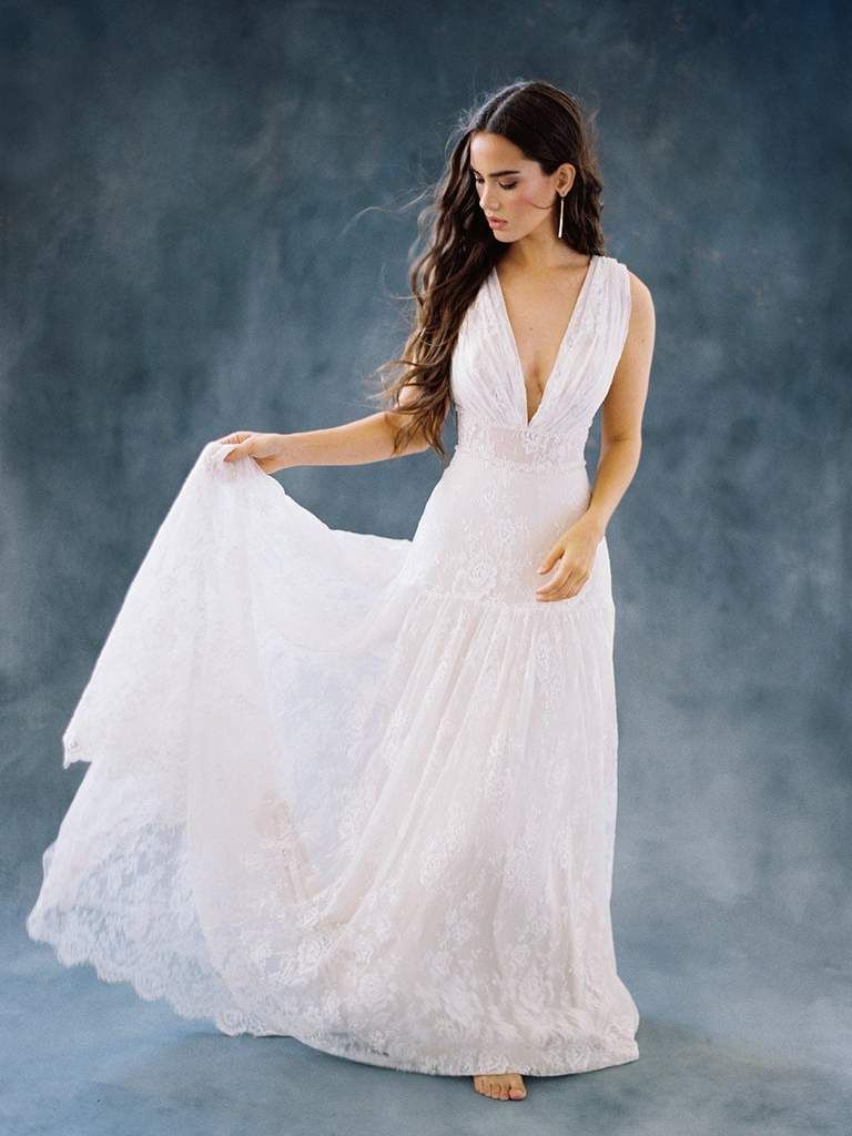 Wilderly bride by allure bridals f deep vneck aline bridal