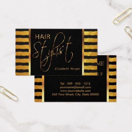 Hairstylist businesscards hair stylist in a faux gold and black hairstylist businesscards hair stylist in a faux gold and black foil business reheart Image collections