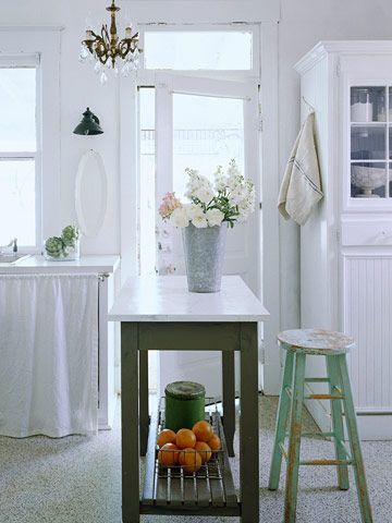 Cottage Kitchen - Simple, white, galvanised, shabby, island table