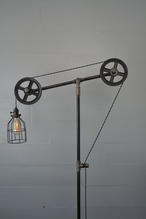 Industrial Floor lamp - Floor Light - Pulley Light - Pipe ...