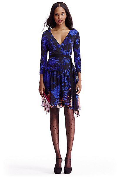 ea3a90dc75 DVF Riviera #Jersey and #Chiffon Combo Wrap Dress in in #Floral Daze #Blue  Placement