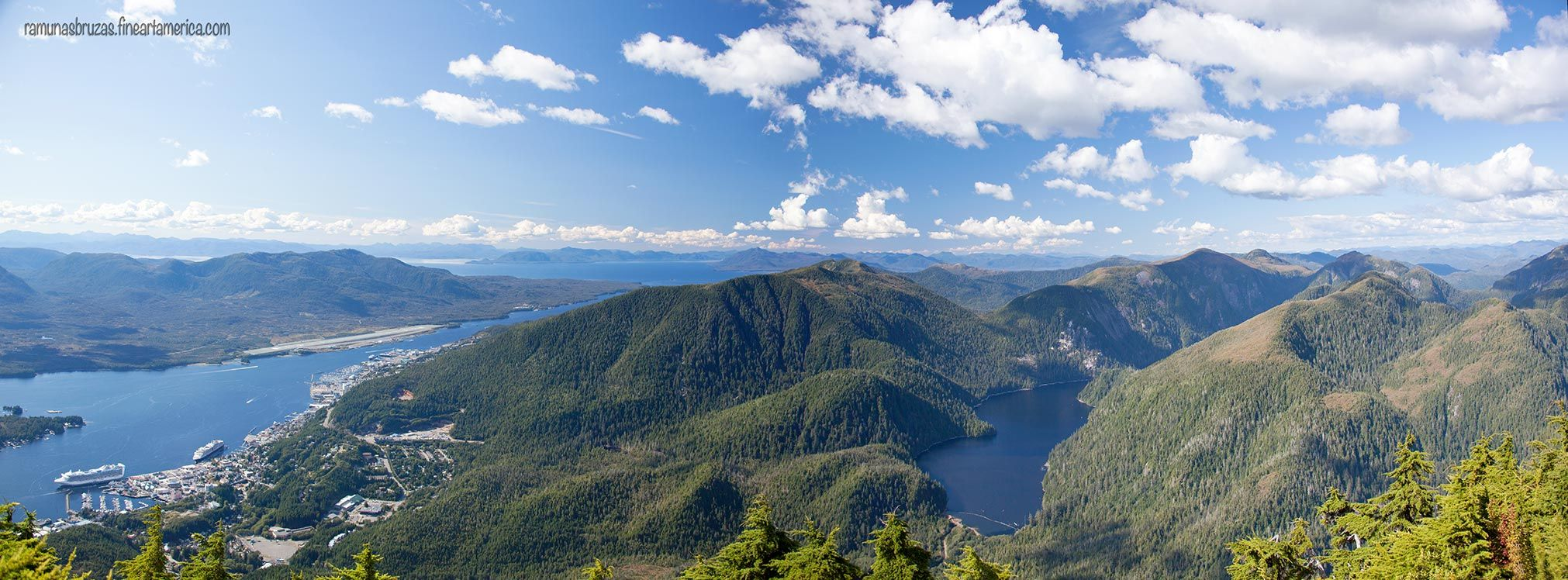 The panoramic view from the top of Deer Mount with Ketchikan town surrounded by mountains (Alaska). 2015.09.03