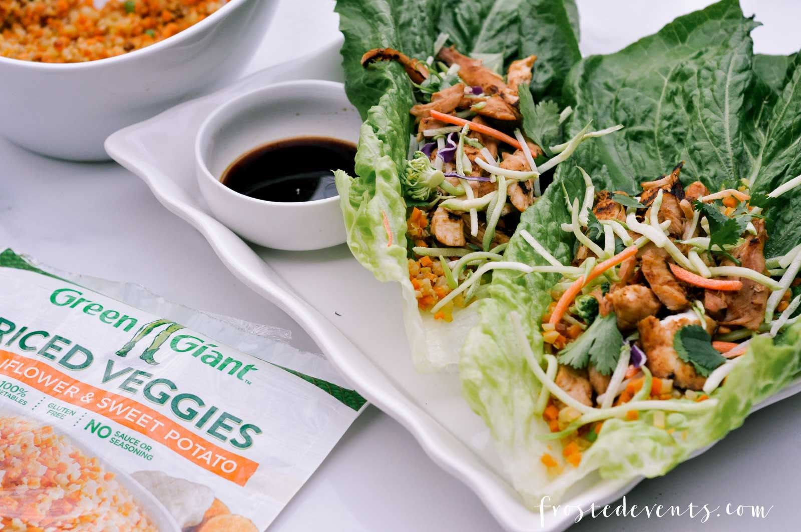 http://Easy Recipes- Chicken Lettuce Wraps with Cauliflower Rice