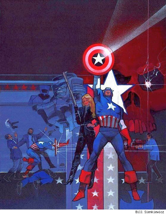 can't remember ever seeing this before. Can anyone tell me where it was originally published? - Captain America by Bill Sienkiewicz