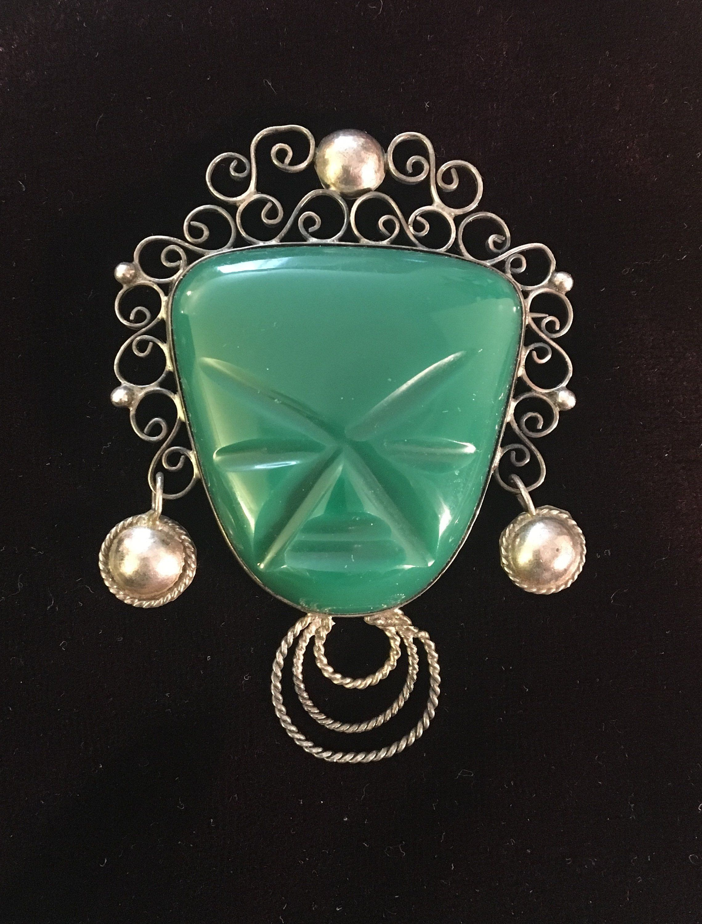 4e11742501500 Aztec Mayan Face Brooch, 925 Sterling Silver Filigree, Carved Green ...