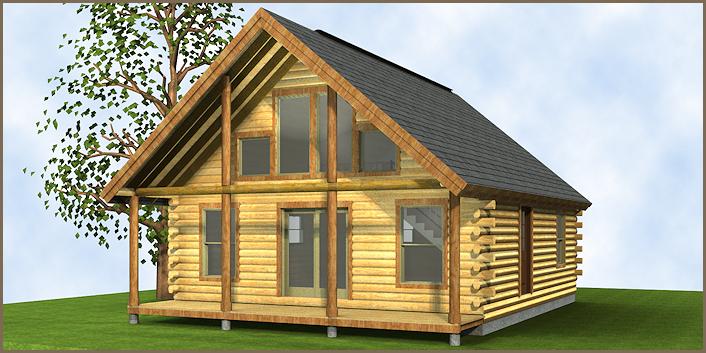 The Champlain Log Cabin Floor Plan 1 bedroom, 1 loft, 1