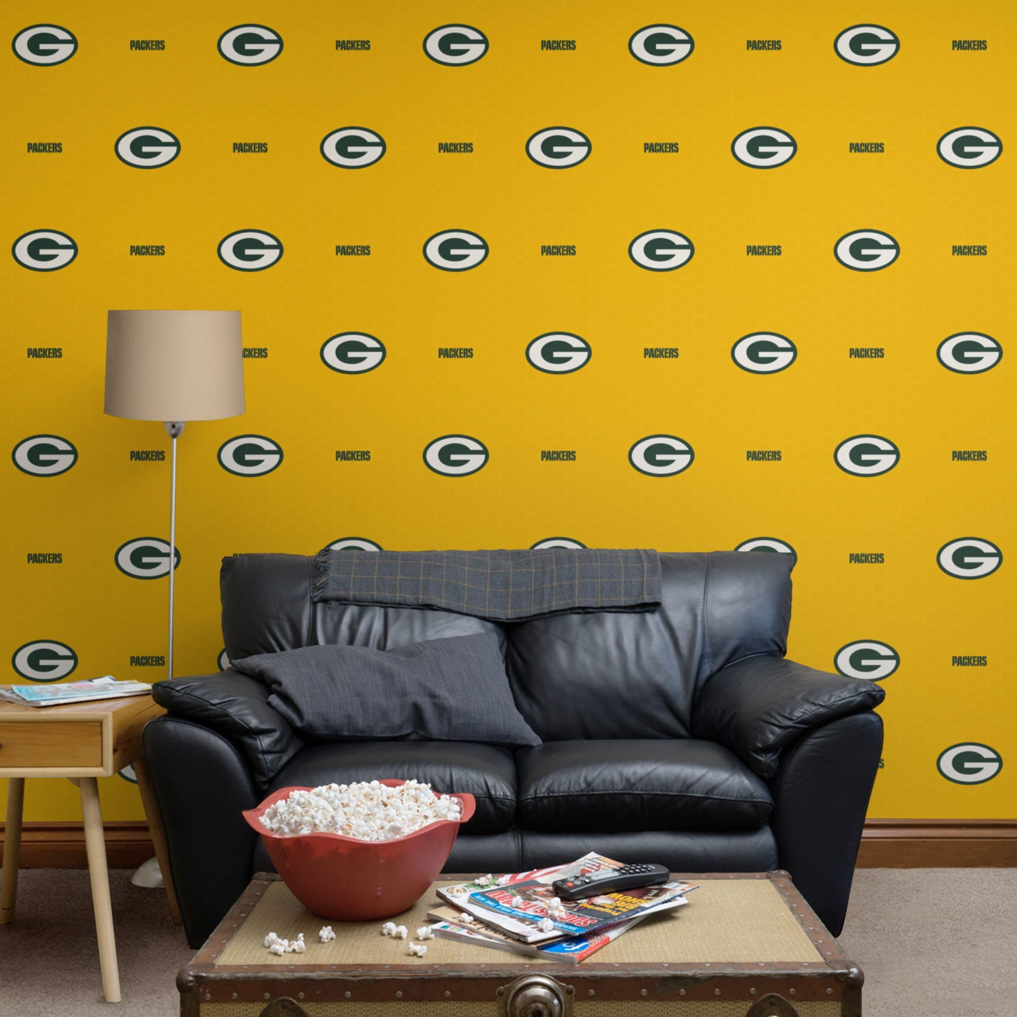Green Bay Packers Logo Pattern Yellow Officially Licensed Removable Wallpaper Fathead Catalog In 2019 Green Bay Packers Logo Decor Line Patterns