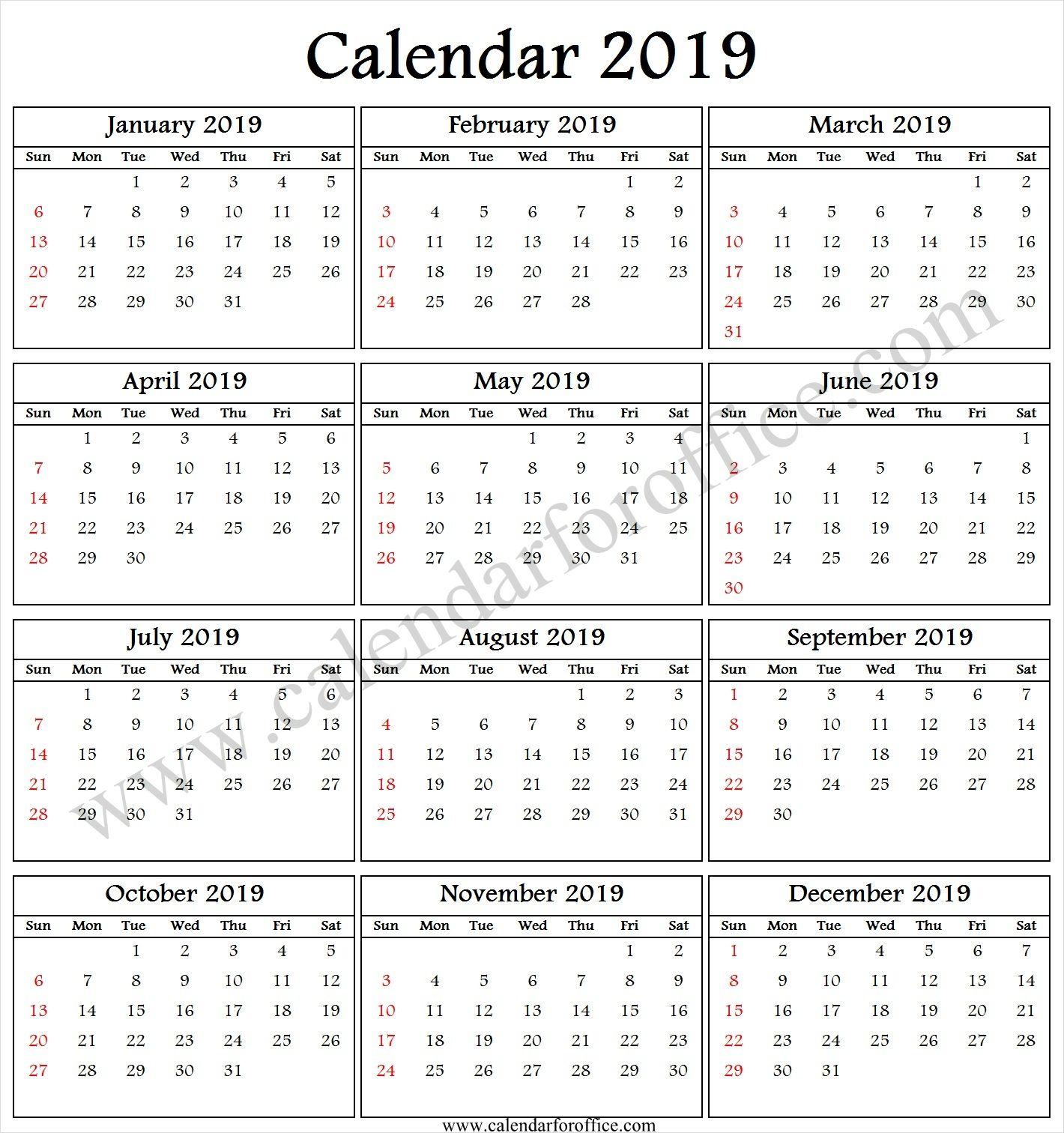 2019 Calendar Online Free Online Calendar Calendar 2019