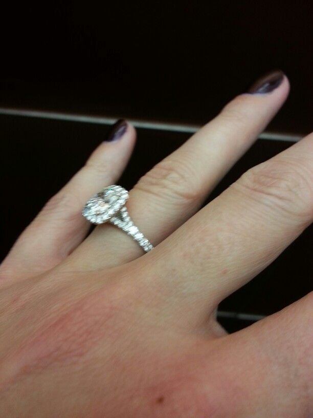 My Ring Cushion Cut Pave Split Shank Band With Halo