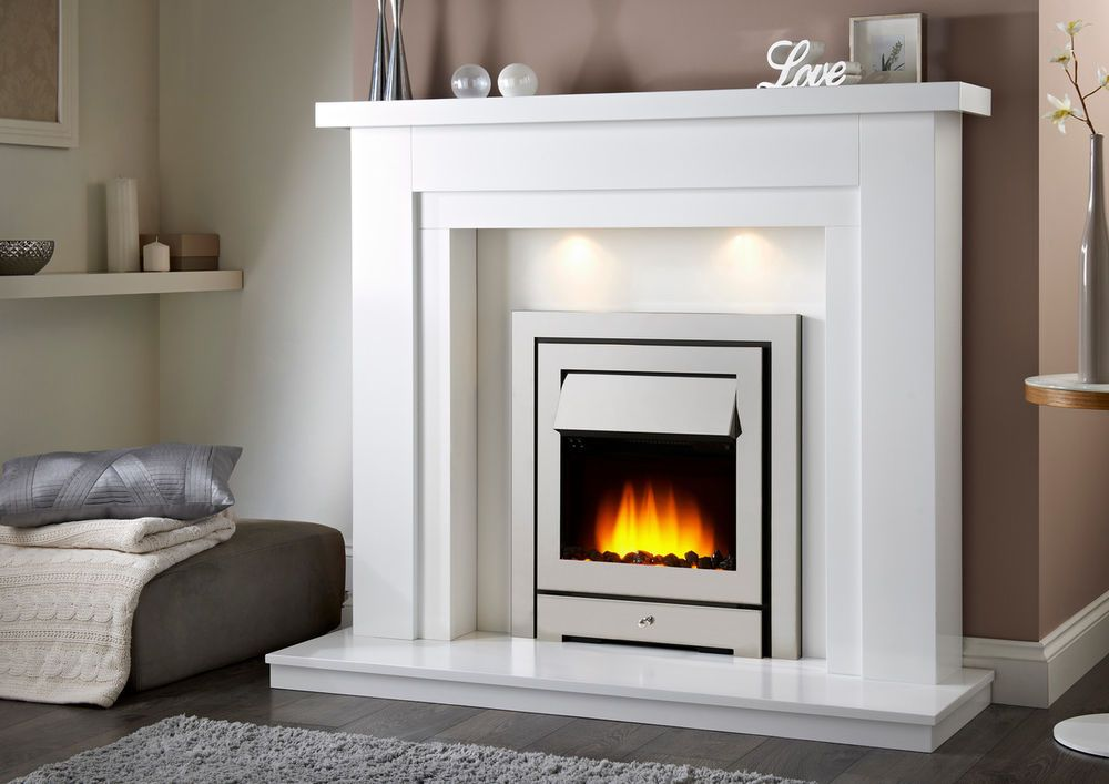 Riva Fire Surround Lights White Marble Set Gas Or Electric Bargain 299 Electric Fireplace Suites Fireplace Suites White Electric Fireplace