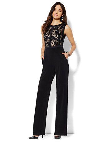 df5605d06c815 Shop Lace Panel Jumpsuit. Christmas party outfit? I think so ...