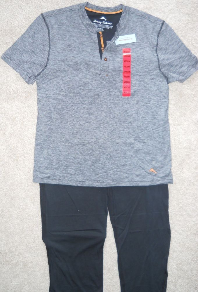Blue Med Tommy bahama men/'s regular 2 piece lounge sleepwear set Grey XL
