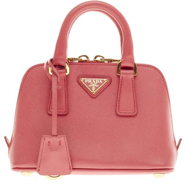 Pre-owned Prada Saffiano Promenade Zipped Mini (56.295 RUB) via Polyvore featuring bags, handbags, handbags and purses, top handle bags, tote handbags, red purse, crossbody purse и handbags totes