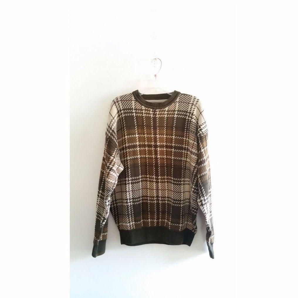 Mens Vintage Woods & Gray s Plaid Houndstooth Print Brown Tan Xmas Sweater Sz Medium