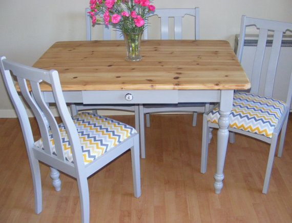 SOLD Farmhouse Table Shabby Chic Painted Dining Chalk Paint Reclaimed Upcycled
