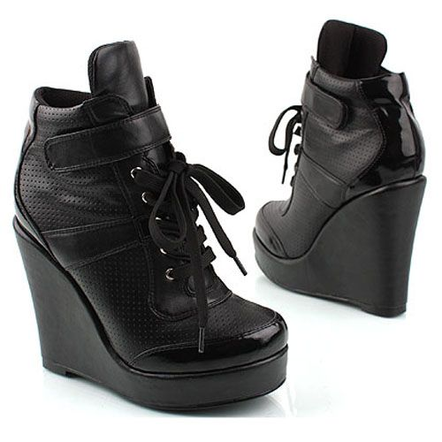 black womens wedge high heel sneaker shoes all 3 9 inch