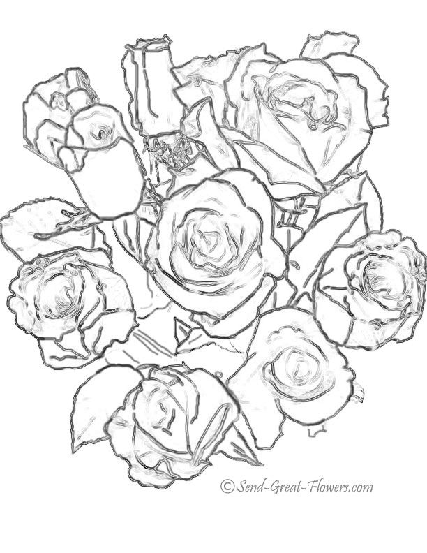 bouquet of roses coloring pages printable