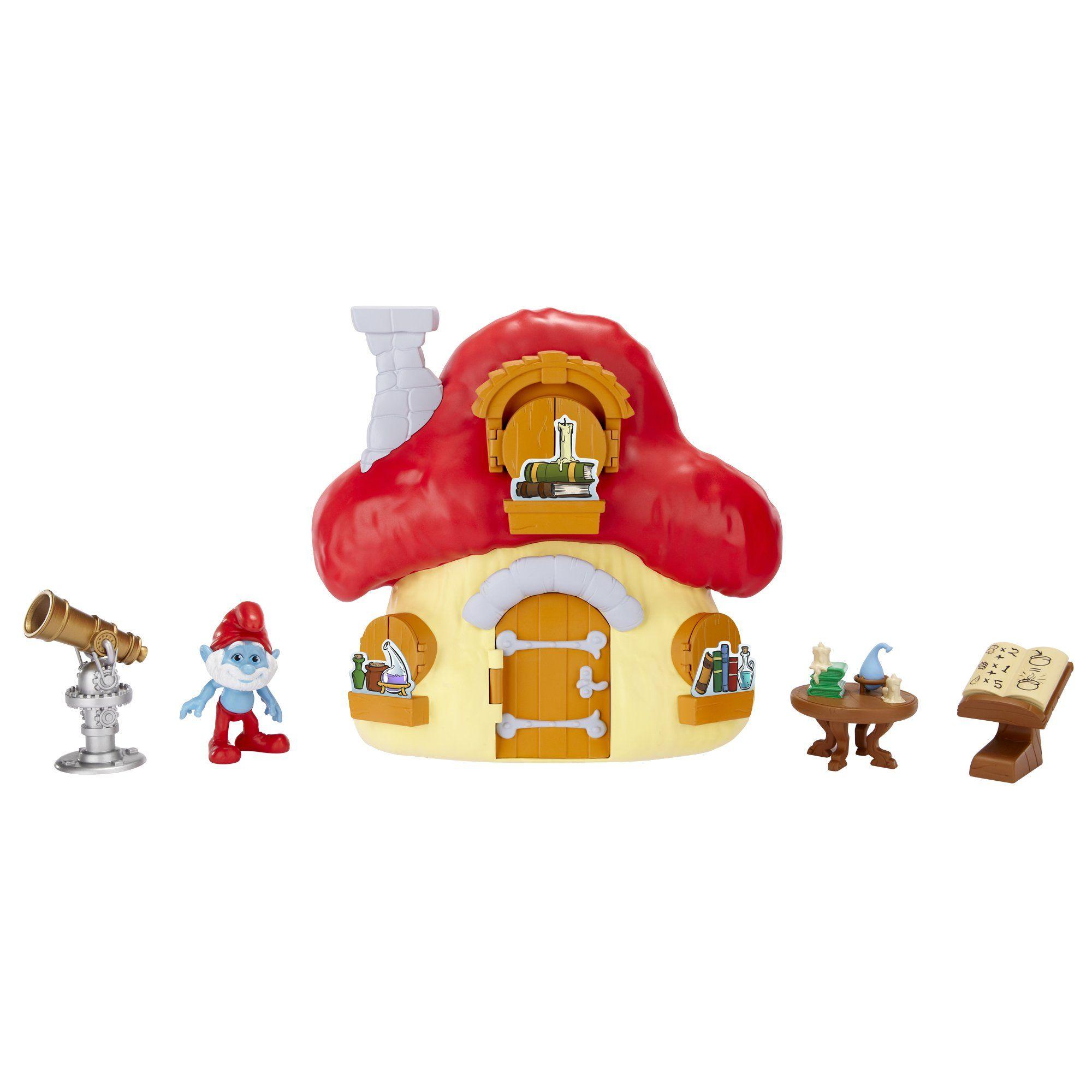Amazon.com: Smurfs Mushroom House with Papa Smurf: Toys ...