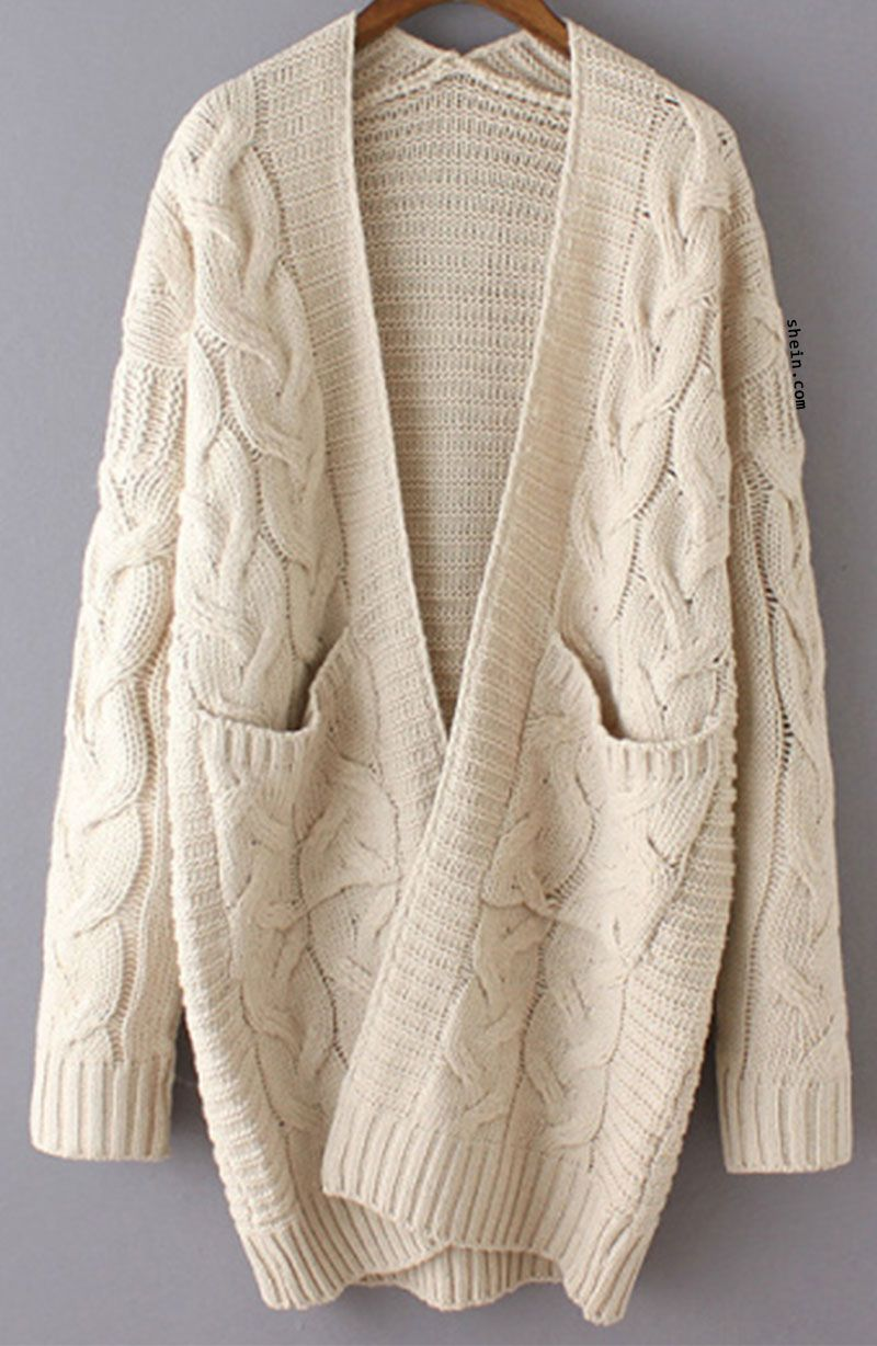 Beige Long Sleeve Cable Knit Pockets Cardigan  e7620e729