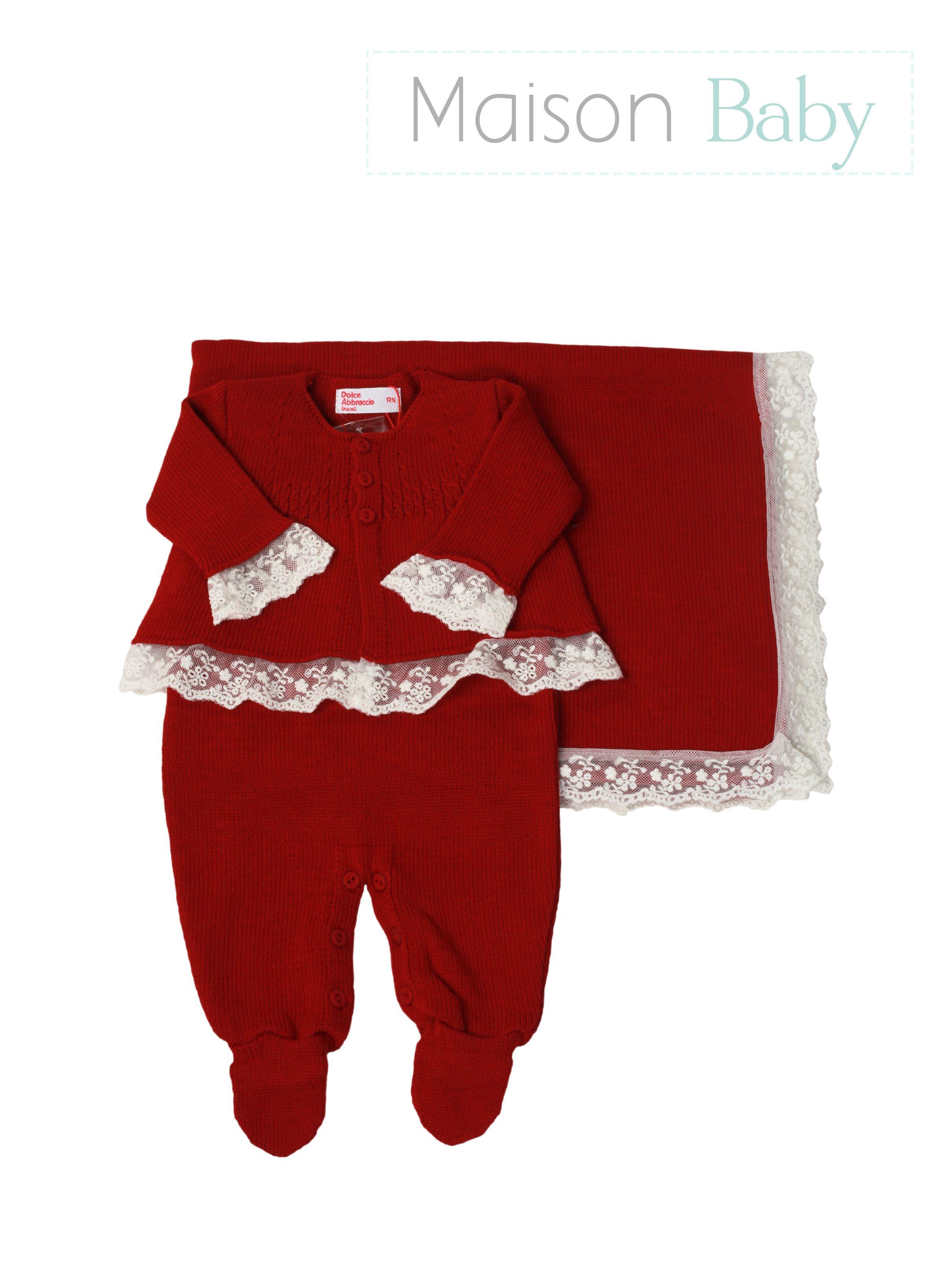473605b531432 Saída de maternidade vermelha para meninas Dolce Abbraccio na Maison Baby.  Encontre este Pin e ...