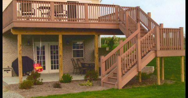 Two Story Deck Large Second Story Deck With Patio Underneath Decks Sunrooms Pergolas