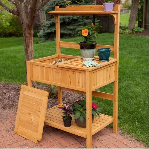 Natural Wood Potting Bench Garden Table With Bottom Shelf Potting