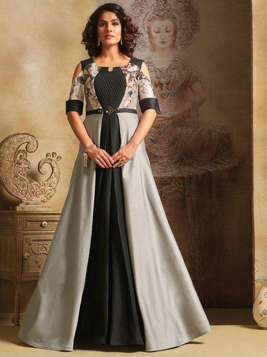Shop Plain Grey Black Silk Party Wear Gown Online From G3fashion