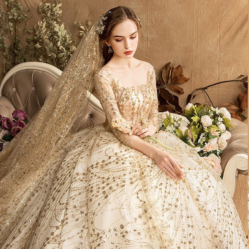 Luxury Gorgeous Gold Wedding Dresses 2019 Ball Gown Square Neckline Glitter Tulle Beading Sequins Crystal 3 4 Sleeve Backless Royal Train Gold Wedding Dress Gold Wedding Gowns Ball Gowns