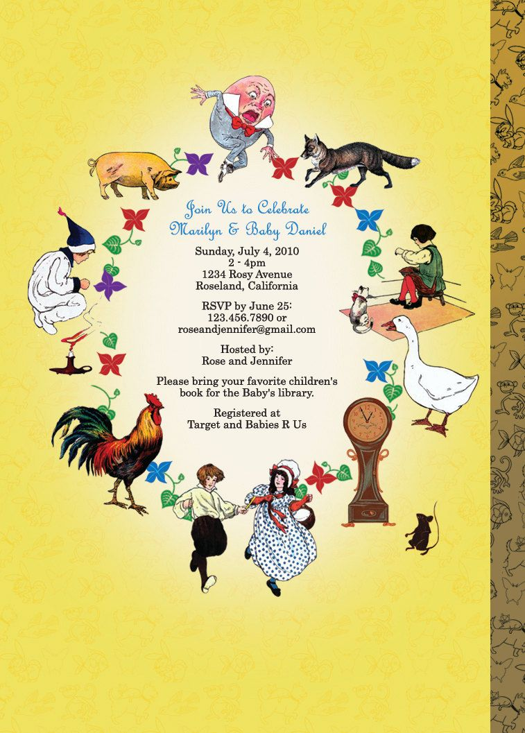 Mother Goose Invitation, Nursery Rhyme Invitation for Baby Showers ...