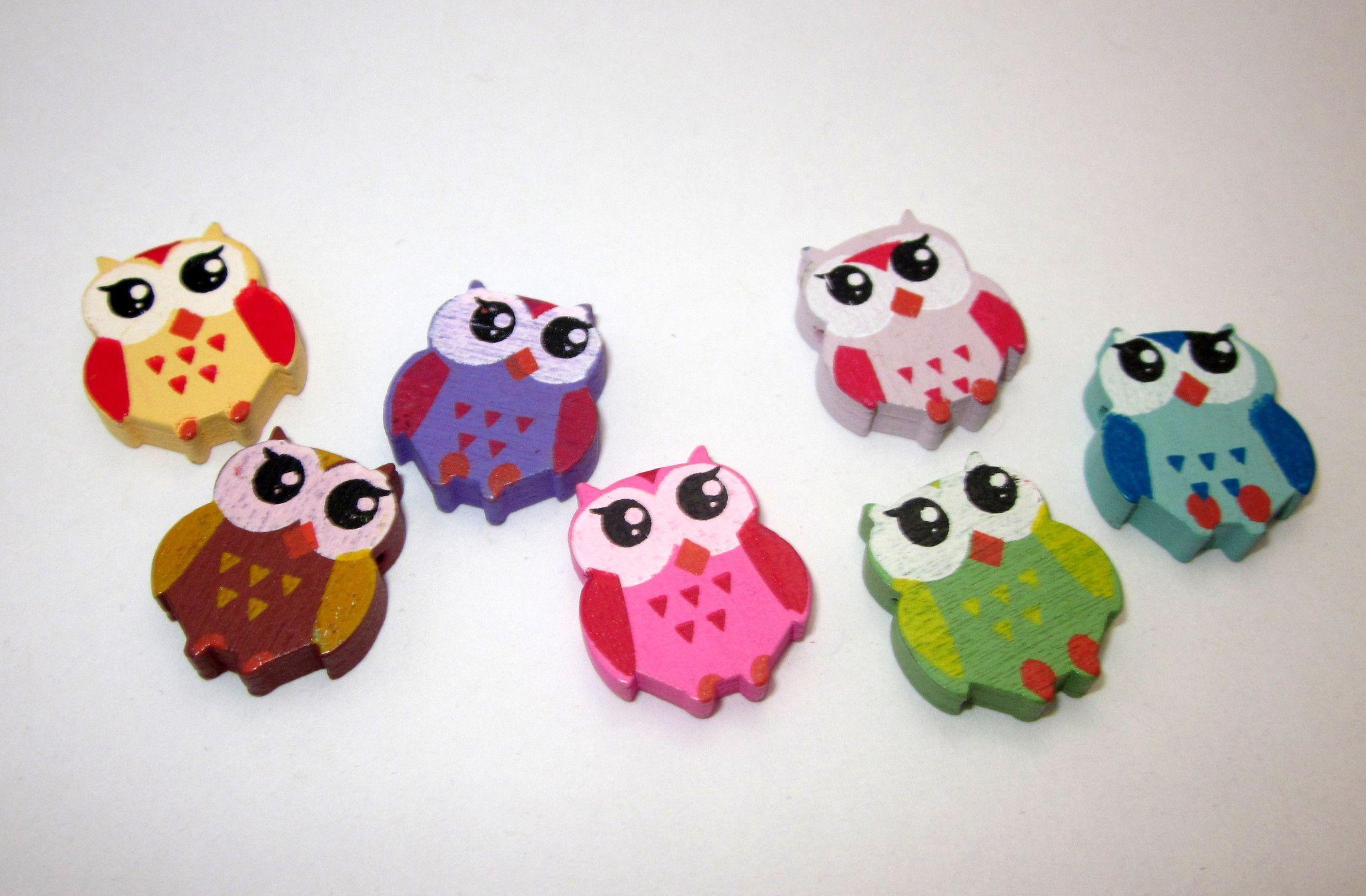 50 Wooden Owl Craft Beads