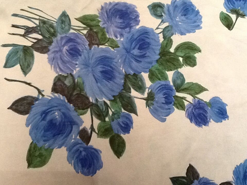 Large vintage silk scarf JACQMAR 1950s blue roses immaculate £53.18 (12B)