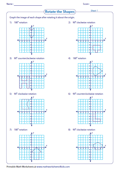 Rotate The Shape About The Origin Reflection Math Math Worksheets Transformations Math