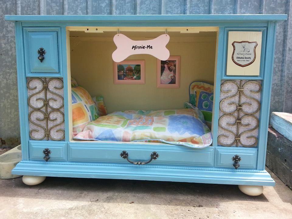 Dog Bed Made From Old Tv Cabinet Dog Furniture Dog Bed Diy Dog Bed