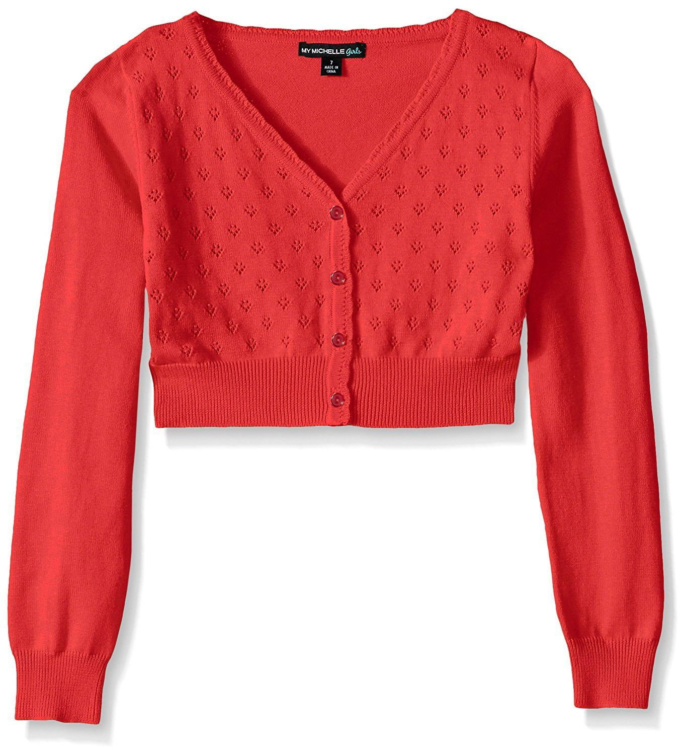 517366470c My Michelle Big Girls Heart Pointelle Long Sleeve Cardigan with Button Front