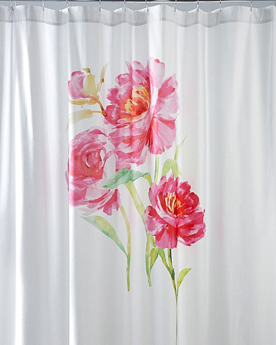 Watercolor Floral Sateen Shower Curtain Mira Curtains Floral