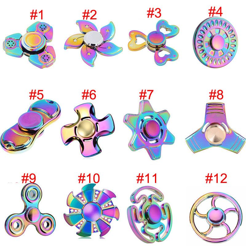 Hand Fidget Spinner Stress Titanium Metal Alloy EDC High Speed Focus Toy Rainbow